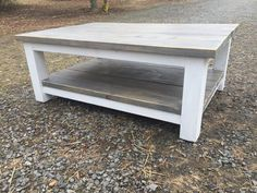 Large Farmhouse Coffee Table Stained Classic Grey with white legs and accents. Beautiful large coffee table to put in your house. #coffeetable #farmhouse #rustic #classicgrey #tables #homedecor