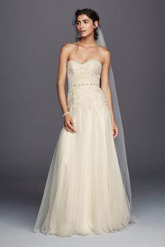 Melissa Sweet Strapless Tulle Sheath Wedding Dress Style MS251130