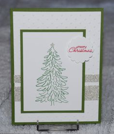 Stampin' Up! Evergreen stamp set; Petite Pairs stamp set; Garden Green ink; Silver Glimmer Paper; and Perfect Polka Dots Textured Impressions