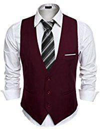 Coofandy Gilet de Costume Homme Veste Slim Fit sans Manche Business Mariage Taille S-XXL