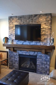 Good Free Stone Fireplace exterior Concepts Hottest Free of Charge Stone Fireplace with tv Thoughts Frontier Ledge (Color: Walnut) Fireplace Tv Wall, Basement Fireplace, Brick Fireplace Makeover, Farmhouse Fireplace, Living Room With Fireplace, Fireplace Design, Fireplace Ideas, Brick Fireplace Remodel, Fireplace Update
