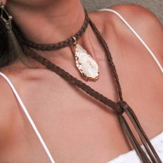 New at #ettika Buttery soft leather choker with braided leather hanging wraps featuring a gold plated one-of-a-kind agate / druzy semi precious stone. 3 inch extender. Gold plated and hand made with love.