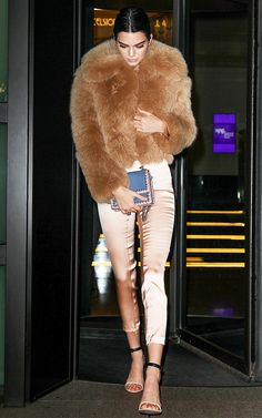 Kendall Jenner Just Wore the Chicest Rose-Gold Treggings via @WhoWhatWear