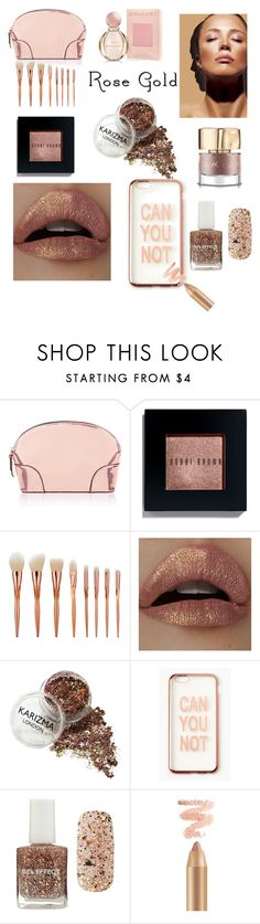 """""""Everything rose gold"""" by ajubani7 ❤ liked on Polyvore featuring Accessorize, Bobbi Brown Cosmetics, Missguided, Forever 21, Bulgari and rosegold"""