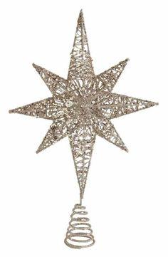 "Christmas Ornament STAR GOLD 8/"" CAPIZ SEASHELL Ribbon Glitter Hanging NEW TAG"