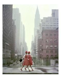 Vogue - August 1958 - Taking A Stroll Photographic Print by Sante Forlano at Art.com