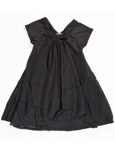 Black Doudou dress from Eliane et Lena for little girls. Slight cap sleeves and layered bodice. Soft cotton.