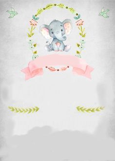 A cute little baby elephant baby shower invitation. This is great for a baby girl baby shower. Tarjetas Baby Shower Niña, Baby Shower Invitaciones, Shower Bebe, Baby Boy Shower, Baby Shower Invites For Girl, Baby Shower Themes, Baby Elefant, Baby Posters, Elephant Theme