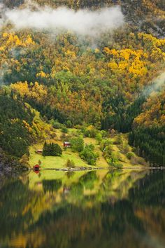 """Norwegian Farm II"" by Tord Andre Oen, via 500px. Beautiful Autumn colors above Bolstad Fjord, Norway."