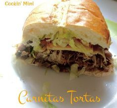 Cookin Mimi Carnitas Tortas Mexican Style Pulled Pork Sandwiches mexicanreci delivers online tools that help you to stay in control of your personal information and protect your online privacy. Tortas Sandwich, Pork Sandwich, Sandwich Ideas, Mexican Dishes, Mexican Food Recipes, Mexican Meals, Mexican Sandwich, Torta Recipe, Cuban Cuisine