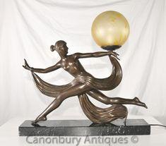 Original 1920s Antique Art Deco Dancer Lamp Light Bronze by Ouline