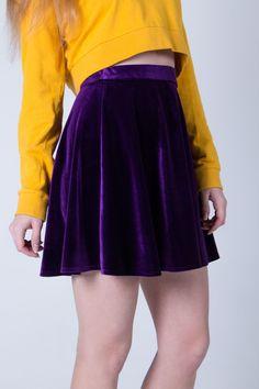 Купить Бархатная юбка - юбка, юбка мини, бархат, бархатная юбка, однотонный, тёмно-фиолетовый
