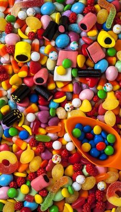 Sweet Candy With Scoop by Garry Gay - Sweets - Colorful Candy, Candy Colors, Food Wallpaper, Taste The Rainbow, Pick And Mix, Candy Store, Candyland, Confectionery, Chocolates