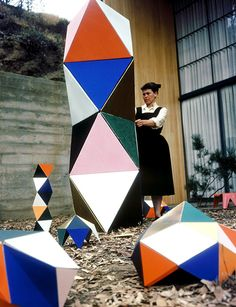 Ray Eames plays with an early prototype of The Toy outside the Eames House in 1951. © Eames Office, LLC