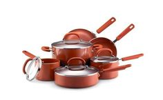 The Earth Pan II line from Farberware set in stylish terra cotta takes a similar approach to non-stick coating, covering its saucepans, skillets, saute pans, and stockpots with a product called SandFlow, which is made without PTFE (which can cause flu-like symptoms in humans) or PFOA (a carcinogen).