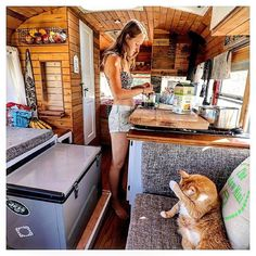 : Team slide out fridge or team standing fridge? Learning To Love Again, Learn To Love, Truck Camper, Camper Trailers, Van Organization, Organizing, Short Bus, School Bus Conversion, Vw T