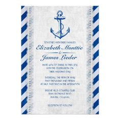 Rustic Anchor Nautical Wedding Invitations  #wedding favors, #bridal shower favors, #party favors, #personalized favors, #decorations, #bridesmaids gifts, #bridal party gifts, #wedding supplies, #timelesstreasure