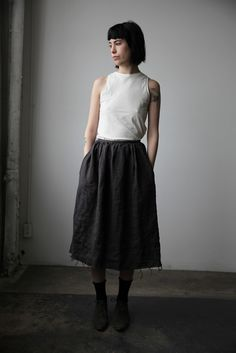 Washed Linen Skirt - Charcoal | Ovate