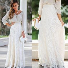 Layers of lace and tulle make up this chic lace maxi skirt. We love winter white and think this maxi skirt is perfect with a blouse and heels or layer with a chunky sweater and boots. - floor length - stretch