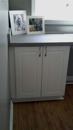 Painted countertops. Used Rustoleum spray paint right over formica. Looks like stainless!