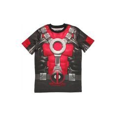 Marvel Comics Deadpool Dye Sublimated Costume T-Shirt Sheer (145 AED) ❤ liked on Polyvore featuring costumes, marvel comics, marvel comics costumes and marvel comics halloween costumes