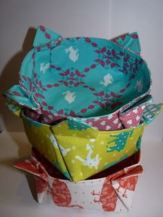 Fabric bowls from a video tutorial from http://www.brettbara.com/how-to/book-video-sew-a-fabric-bowl/