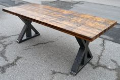 Vintage Rustic Reclaimed Wood Table with Industrial Base from Oak Boxcar Planks