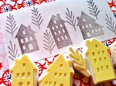 winter street rubber stamp set. hand carved rubber by talktothesun