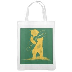 I Love You California--Green and Gold Grocery Bag