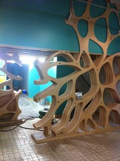 CNC plywood shelves by delores Modern Furniture, Furniture Design, Plywood Shelves, Plywood Walls, Partition Design, Parametric Design, Cardboard Furniture, Wood Projects, Woodworking