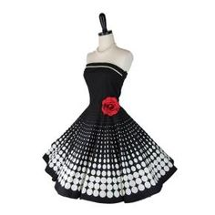Retro 1950s Style Strapless Black White Polka Dot Circle Skirt Party Dress Medium wardrobe-wishes    @Sophie Paquette SO CUTE