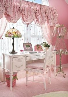 shabby chic pink office   Shabby chic office space for Libby   Babies' Rooms
