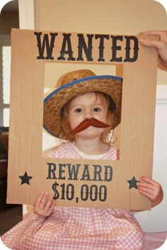 Homemade by Jill: Cowboy Party Home made Cardboard cut and black marker, kids hat and make a mustach, could be paper, and use tape, Love this Idea! Cowboy Party, Cowboy Birthday Party, Horse Party, 3rd Birthday Parties, 2nd Birthday, Rodeo Party, Birthday Ideas, Cowgirl Party Games, Rodeo Birthday