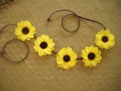 Coachella flower crown halo sunflower with brown by triolette, $7.99