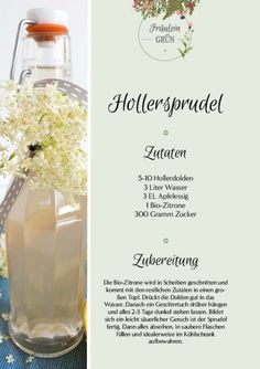 Hollersprudel - fermented summer drink with kick - syrup Healthy Food List, Healthy Recipes, Low Calorie Recipes, Dinner Healthy, Smoked Beef Brisket, Smoked Pork, Kefir Benefits, Chili Toppings, One Pot Vegetarian