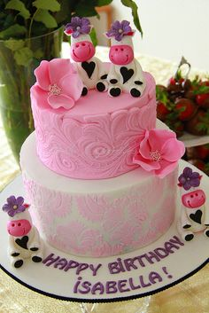 Cows and pink flowers happy cake!