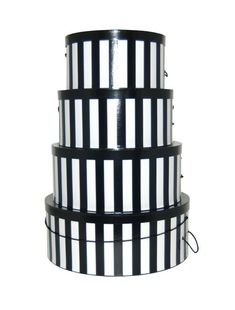 """Black and Whtie Verticle Striped hat box set of 4 nested hatboxes -- Xtra Large 18"""" - $35 ea. Large 16"""" - $30 ea. Medium 14"""" - $25 ea. Small 12"""" - $20 ea."""
