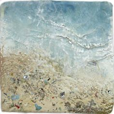 Above & Beyond by Robin Luciano Beaty - Encaustic and mixed-media on braced birch panel 6 by 6 inches