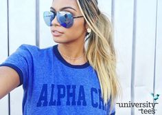 ringin' in the new school year with ringer tees | Alpha Chi Omega | Made by University Tees | universitytees.com