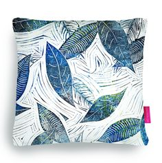 Quirky Illustrated Gifts | Blue Days of Winter | Ohh Deer Beautiful wood/lino cut printed cushion. Designed and made by an old friend Carrie Dennison.