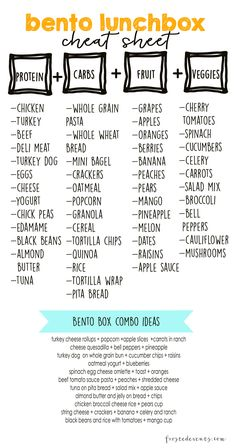 Bento Lunch Box — Lunch Ideas and a free printable cheatsheet of meal combinations for busy moms. Checkout our favorite bento lunch boxes, prep essentials and lots of fun ideas for packing kid's… Lunch Snacks, Clean Eating Snacks, Lunch Recipes, Healthy Recipes, Work Lunches, List Of Healthy Snacks, Healthy Lunch Boxes, Healthy Kid Lunches, Bag Lunches