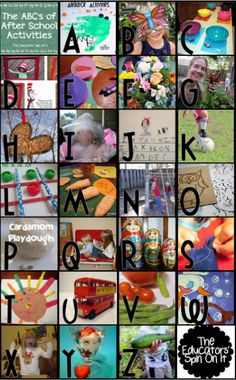 After School Activities for Kids from A to Z from The Educators' Spin On It This site contains 100's of Ideas for what to do that's fun and educational with kids when they come home from school.