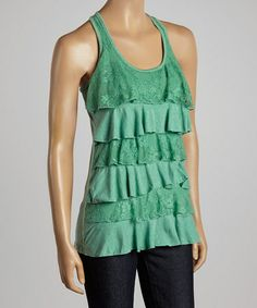 I am obsessed with the Tiered Ruffle look. #zulily! Heather Kelly Green Lace Ruffle Racerback Tank by Zenana #zulilyfinds