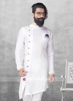 Mens Style Discover Round Neck White Color Pathani For Party Mens Indian Wear, Indian Groom Wear, Indian Men Fashion, Mens Fashion Wear, Gents Kurta Design, Boys Kurta Design, Kurta Pajama Men, Kurta Men, Wedding Kurta For Men