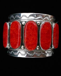Navajo Silver and Coral Bracelet/Cuff Signed C. Stamped Designs Handcrafted *546   eBay