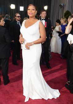 Queen Latifah: Queen Latifah arrived in a creamy Badgley Mischka gown.