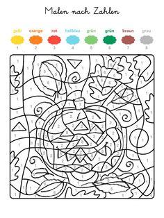 ausmalbild malen nach zahlen: halloween: kürbisse ausmalen kostenlos ausdrucken | for colouring