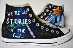 Harry Potter meets Doctor who in these custom painted Converse high tops!