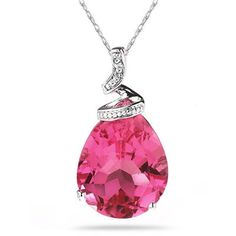 10.25ct Pear Shaped Pink Topaz & Diamond Pendant in 10K White Gold