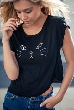 Brandy ♥ Melville | Elin Kitty Embroidery Top